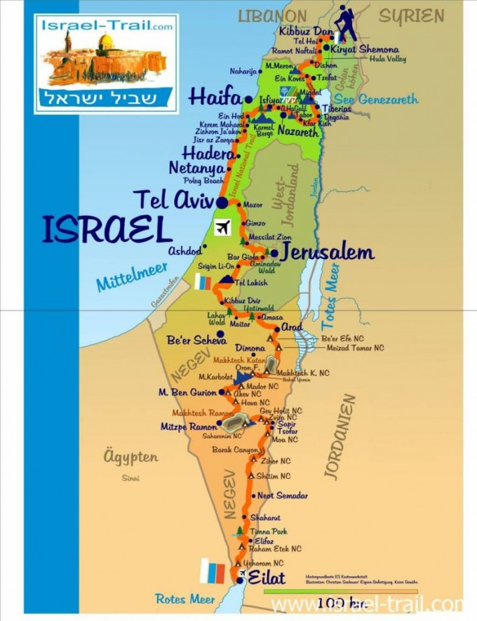 Karte vom Israel National Trail