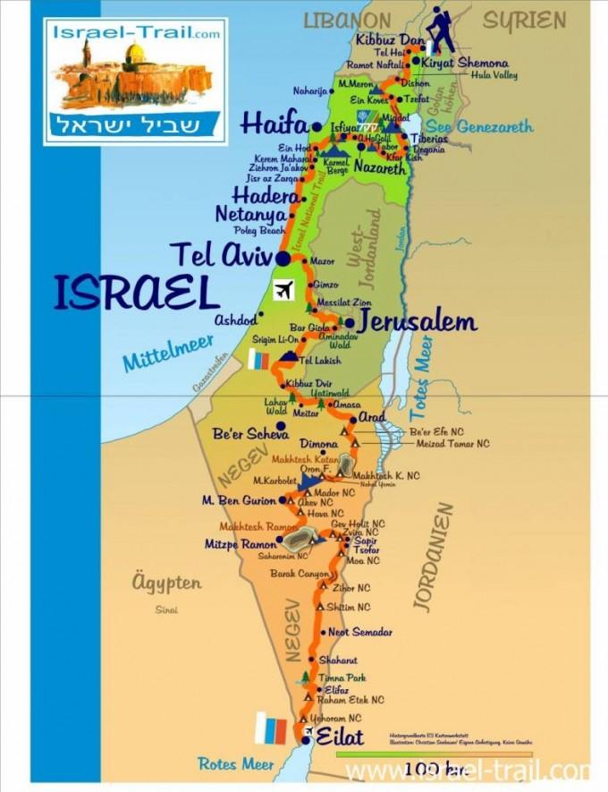 Karte vom Israel National Trail