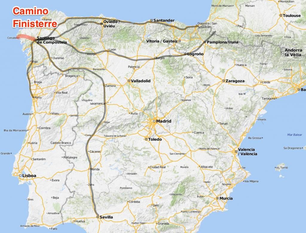 Karte Camino Finisterre, Jakobsweg Routen