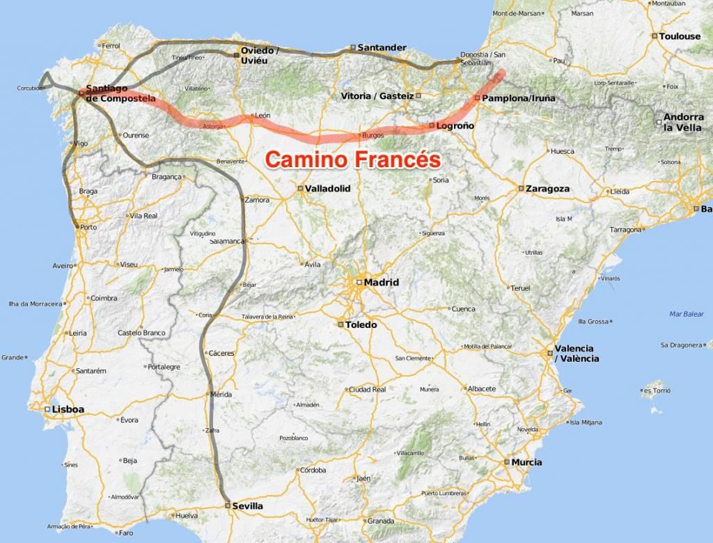 Karte Camino Frances Jakobsweg Spanien, Routen