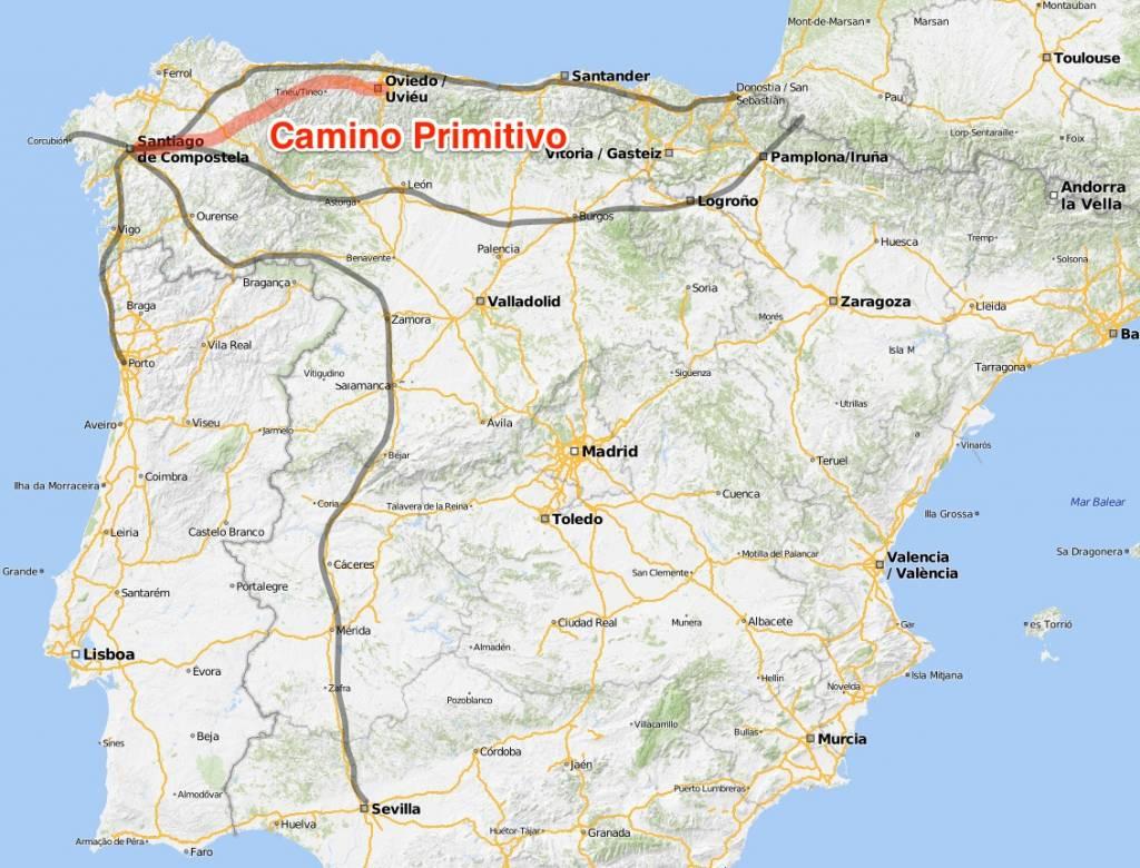 Karte Camino Primitivo, Jakobsweg Routen