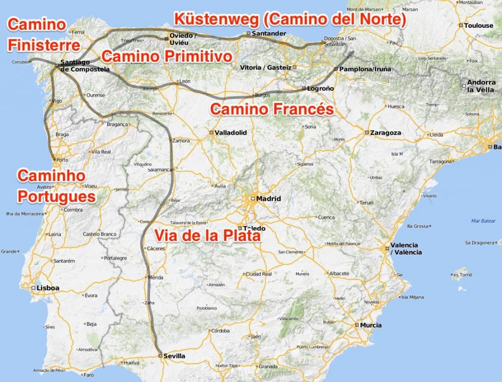 jakobsweg karte Übersicht der Jakobswege | Jakobsweg.de jakobsweg karte