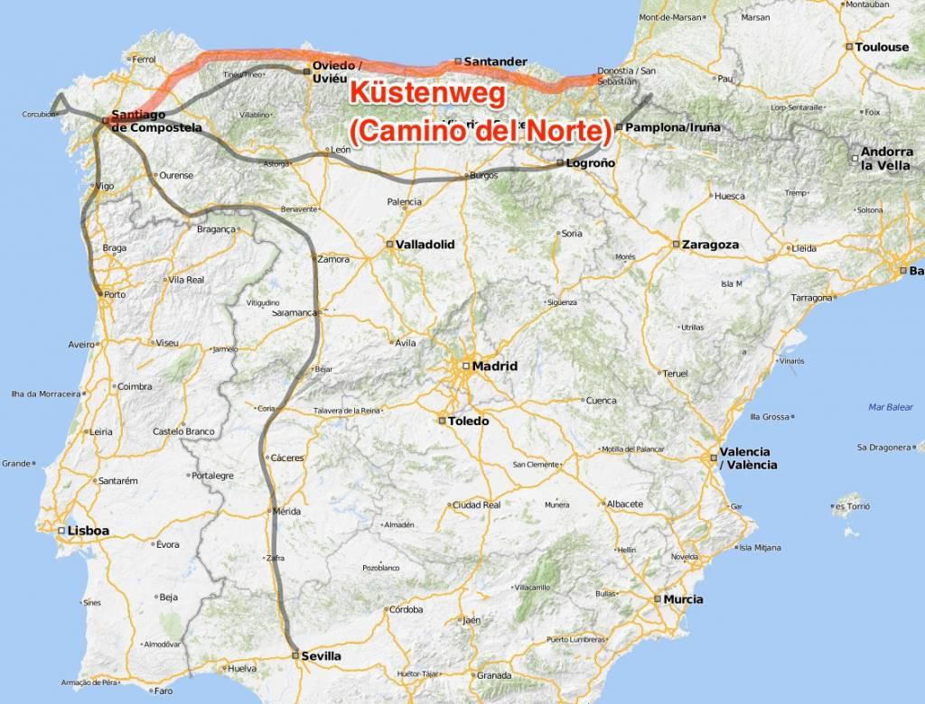 Karte Kuestenweg Camino del Norte