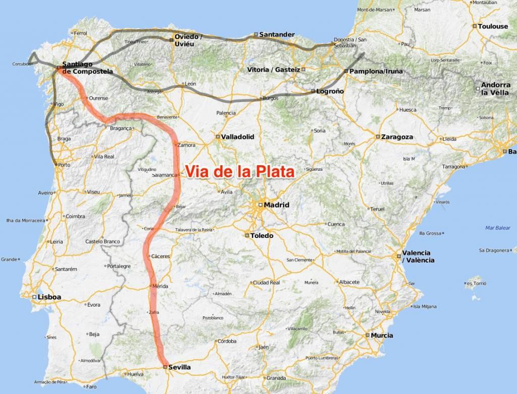 Karte Via de la Plata, Jakobsweg Routen