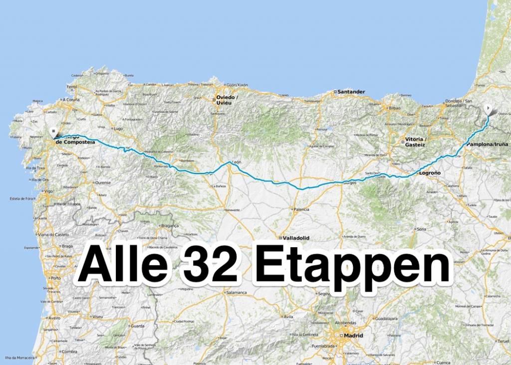 jakobsweg karte Etappen des Camino Francés | Jakobsweg.de jakobsweg karte