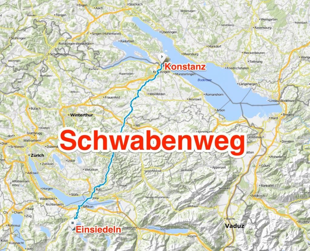 Jakobsweg schwabenweg, Jakobsweg Routen