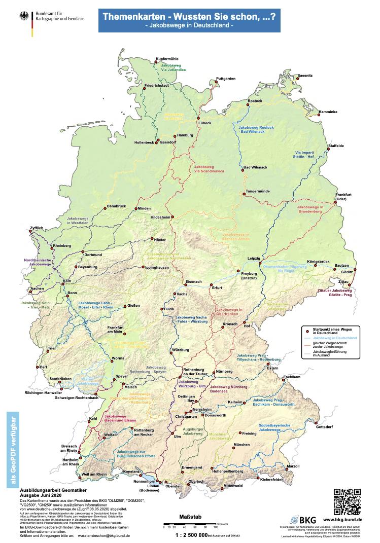 Die Jakobswege in Deutschland