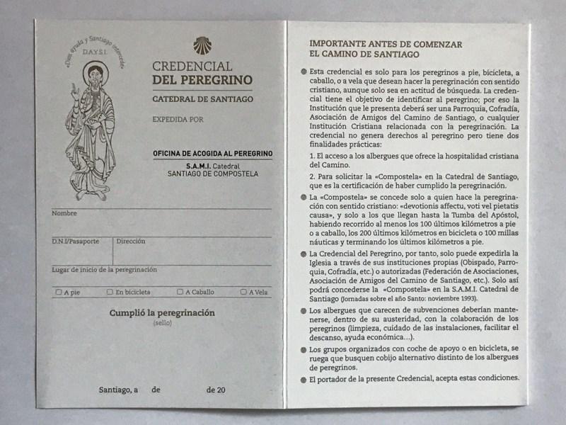 Dein offizieller Pilgerausweis - vor dem Ausfüllen